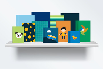 Children, kids Bookshelf. Front view of books cover standing on grey background with shadows. Vector illustration.