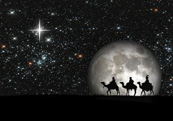 Reyes Magos, luna llena, estrellas, ilustración.