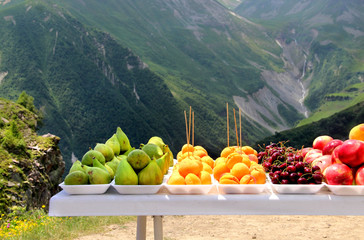 Fruit market in Kazbegi, Georgia