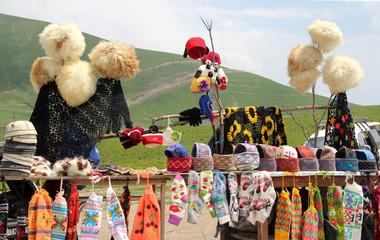 Traditional Georgian souvenirs in mountains Kazbegi