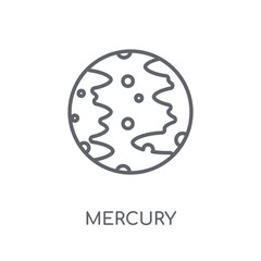 Mercury linear icon. Modern outline Mercury logo concept on white background from ASTRONOMY collection