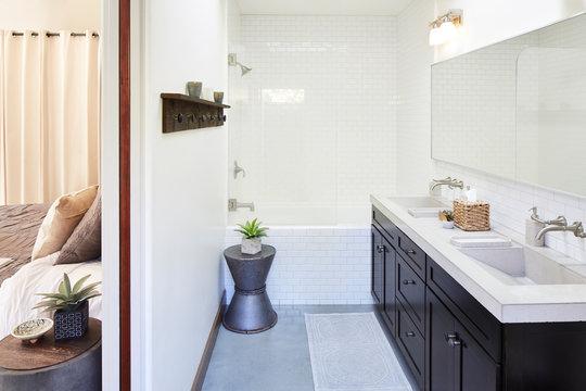 Master bathroom suite in home in California