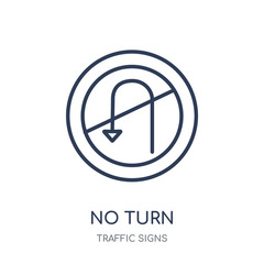 No turn sign icon. No turn sign linear symbol design from Traffic signs collection.