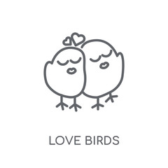 Love Birds linear icon. Modern outline Love Birds logo concept on white background from Birthday party and wedding collection