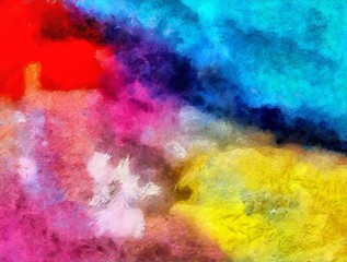 Impression color mix abstract texture art. Artistic bright background. Oil painting artwork. Modern style graphic wallpaper. Large strokes of paint. Colorful pattern for design work or wallpaper.