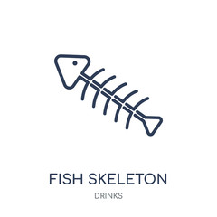 Fish skeleton icon. Fish skeleton linear symbol design from drinks collection.