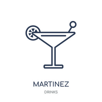 Martinez icon. Martinez linear symbol design from drinks collection.