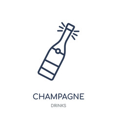 Champagne icon. Champagne linear symbol design from drinks collection.