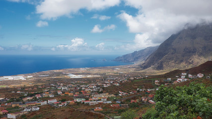 Coastal views towards Las Puntas, the northern part of the island of El Hierro, from a vantage viewpoint in Frontera, Canary Islands, Spain