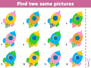 Find two same pictures. Educational matching game for children. Cartoon vector illustration