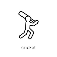 Cricket icon. Trendy modern flat linear vector Cricket icon on white background from thin line sport collection