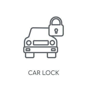 car lock linear icon. Modern outline car lock logo concept on white background from car parts collection