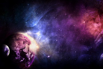 Artistic Abstract Planet in A Dramatic Multicolored Galaxy Artwork