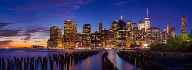 Downtown Manhattan at twilight, New York City, USA