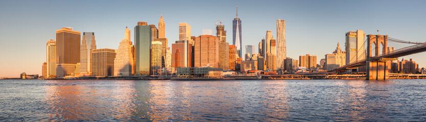 Lower Manhattan cityscape at sunrise, New York City, USA