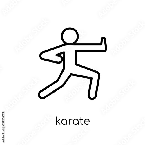 Karate Icon Trendy Modern Flat Linear Vector Karate Icon On White