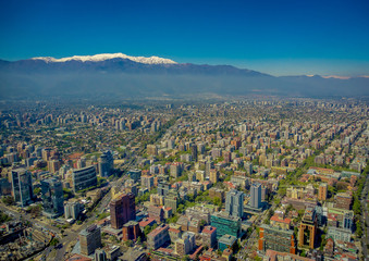 Gorgeous view of Santiago with a snowy mountain in the horizont viewed from Cerro San Cristobal, Chile