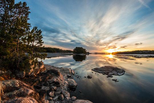 Sunset in Voyageurs National Park in Minnesota