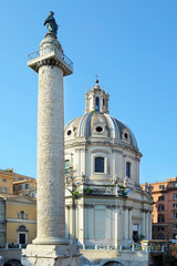 Trajan's Forum, the last Imperial fora to be constructed in ancient Rome and Church of the Most Holy Name of Mary known as Santissimo Nome di Maria al Foro Traiano, Rome, Italy