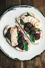 Blackberry jam with vegan cream cheese on toast