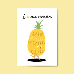 I love summer with pineapple cartoon character card vector