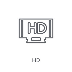Hd linear icon. Modern outline Hd logo concept on white background from Cinema collection