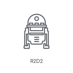 R2D2 linear icon. Modern outline R2D2 logo concept on white background from Cinema collection