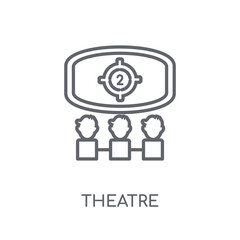 Theatre linear icon. Modern outline Theatre logo concept on white background from Cinema collection