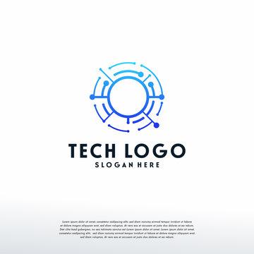 Circle Technology Wire logo template, Pixel Circle logo, Logo symbol icon