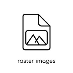 Raster Images icon. Trendy modern flat linear vector Raster Images icon on white background from thin line Technology collection