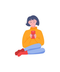 Laughing girl sitting with a smartphone in her hands. Vector illustration in flat style.