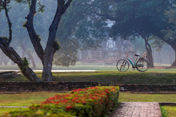 Bike tour at Sukhothai historical park in Thailand