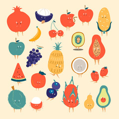 Tropical fruit cartoon characters vector set
