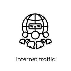 Internet Traffic icon. Trendy modern flat linear vector Internet Traffic icon on white background from thin line Technology collection