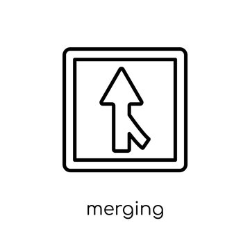 Merging sign icon. Trendy modern flat linear vector Merging sign icon on white background from thin line traffic sign collection