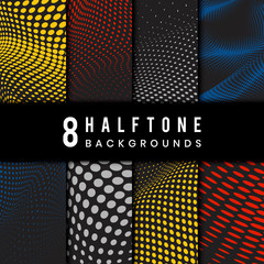 Colorful and black wavy halftone background vector set
