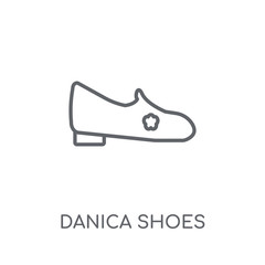 danica shoes linear icon. Modern outline danica shoes logo concept on white background from Clothes collection