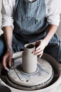 Ceramist in her studio