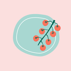 Fresh cherry tomatoes on a plate vector