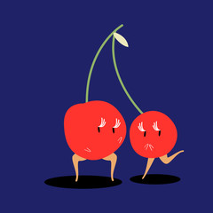 A pair of cherries cartoon vector