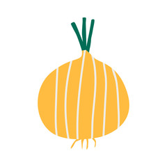 Fresh unpeeled yellow onion vector