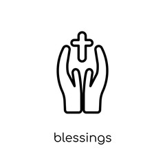 blessings icon. Trendy modern flat linear vector blessings icon on white background from thin line United States of America collection