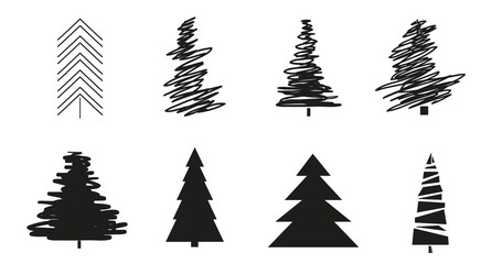 Christmas trees on white. Set for design on isolated background. Geometric art. Objects for polygraphy, posters, t-shirts and textiles. Black and white illustration