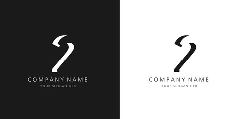 2 logo numbers modern black and white design	 Wall mural