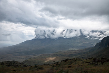 Roraima mount covered with clouds