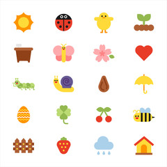 cute simple colorful spring icons. flat design vector graphic style.