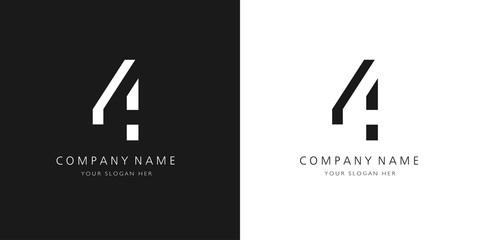 Fototapeta 4 logo numbers modern black and white design obraz
