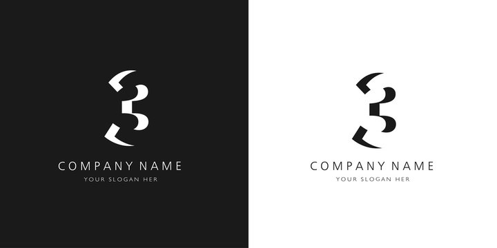 3 logo numbers modern black and white design