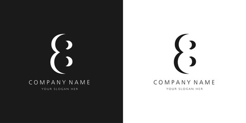 8 logo numbers modern black and white design Wall mural