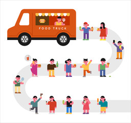 Popular food trucks and line-up customers. concept illustration. flat design vector graphic style.
